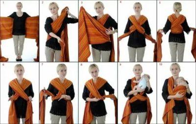 Как одевать слинг для новорожденного